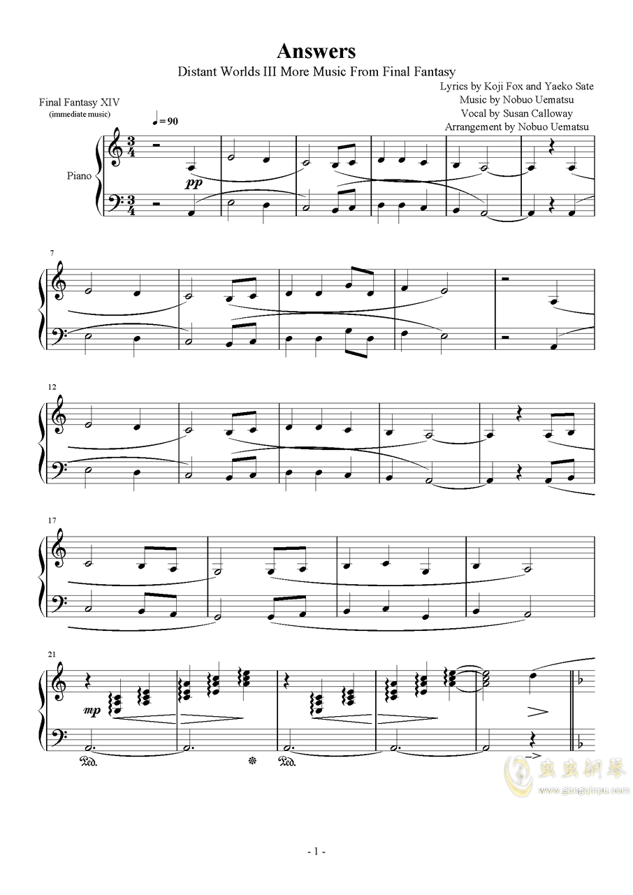 Answers钢琴谱 第1页