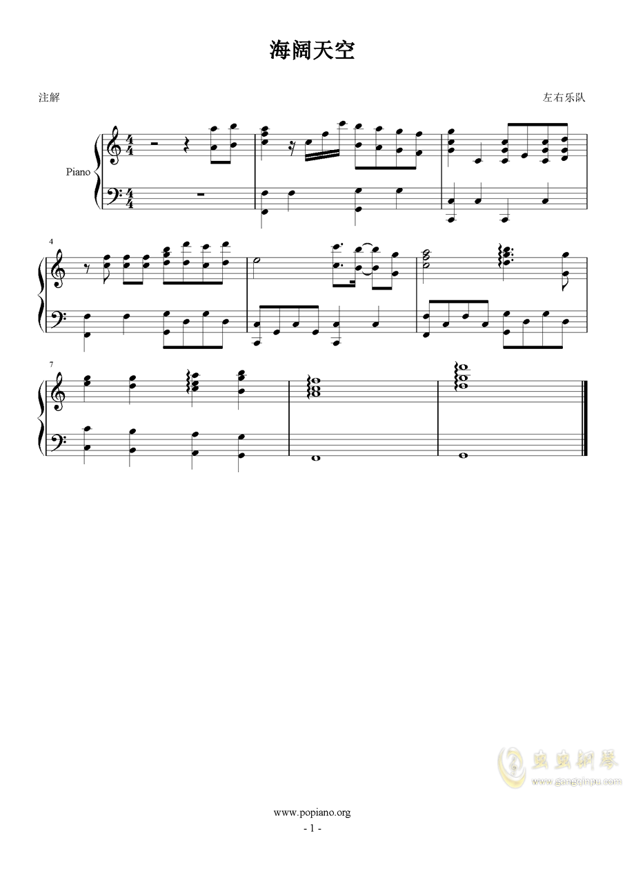 海阔天空钢琴谱 第1页