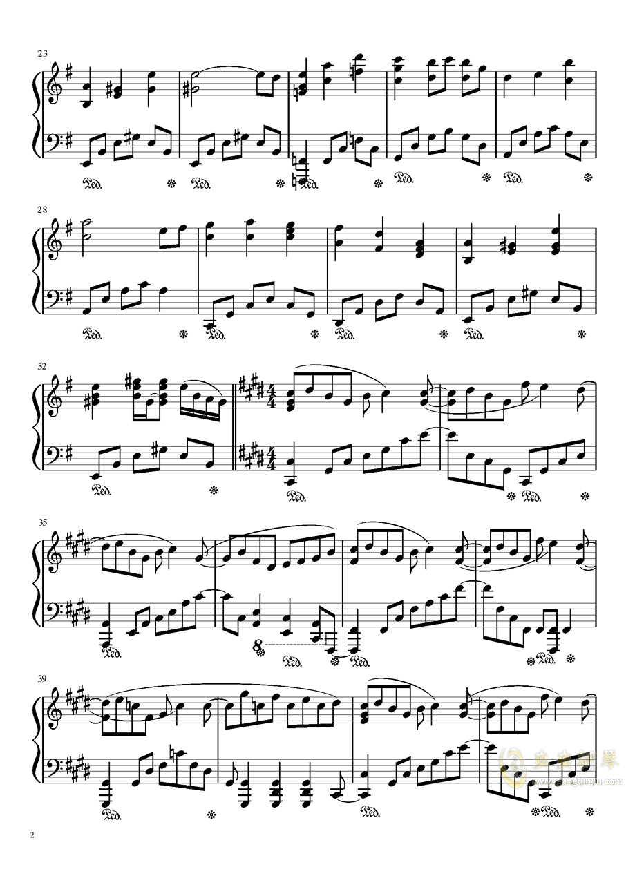 暗�の�L穴钢琴谱 第2页