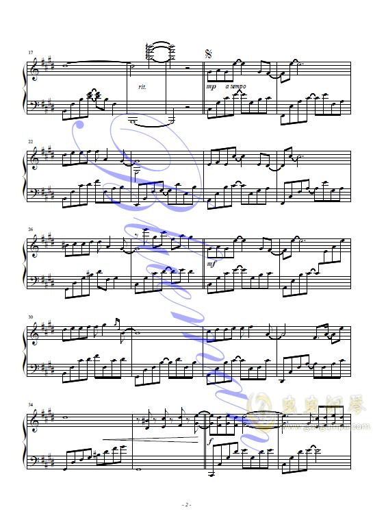 悲伤的天使钢琴谱 第2页