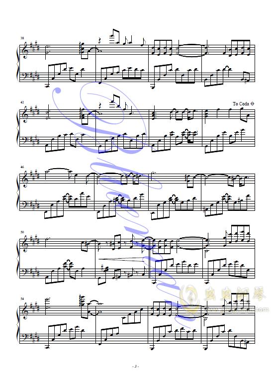 悲伤的天使钢琴谱 第3页