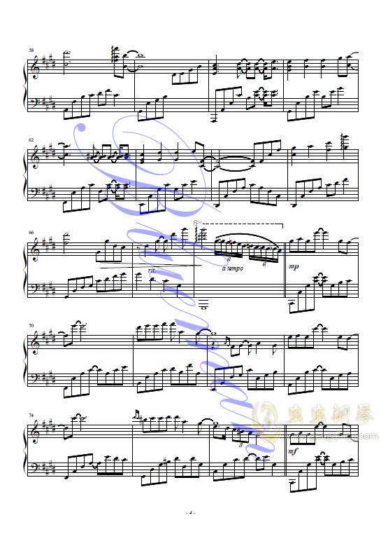 悲伤的天使钢琴谱 第4页