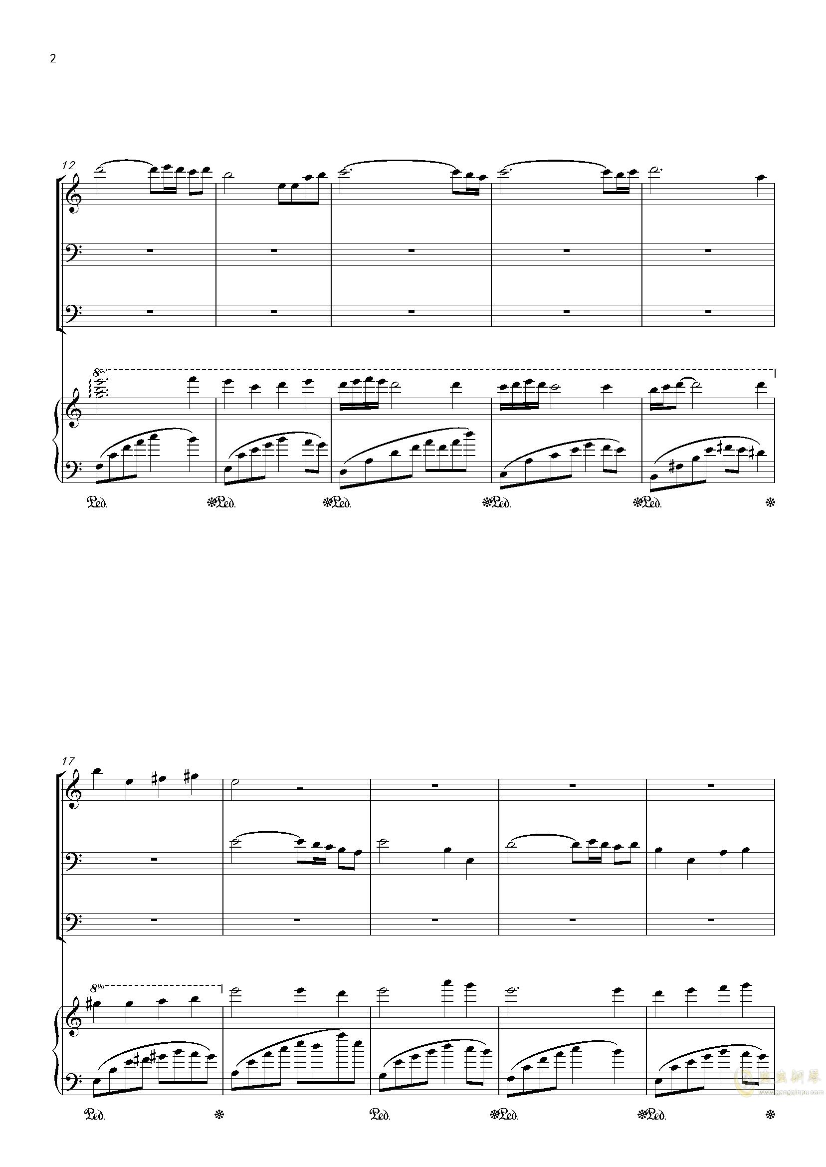 零落钢琴谱 第2页
