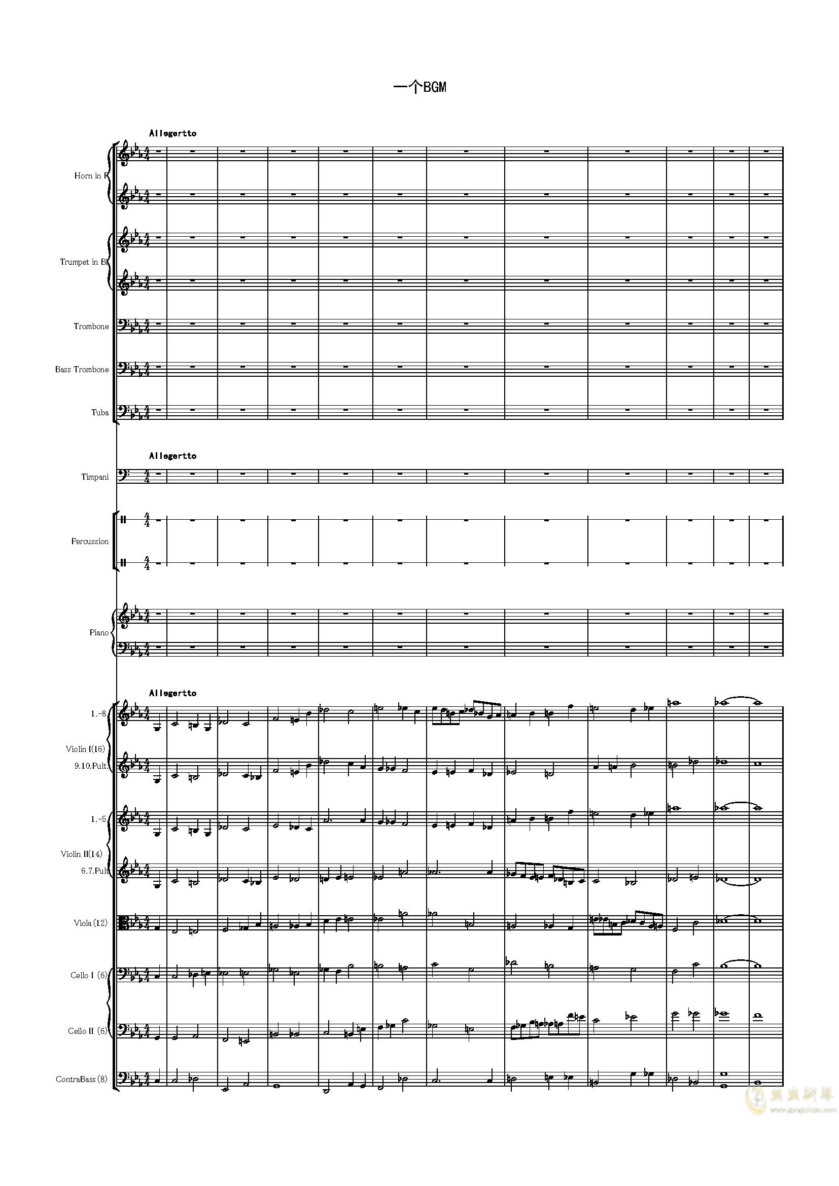 BGM-War钢琴谱 第1页