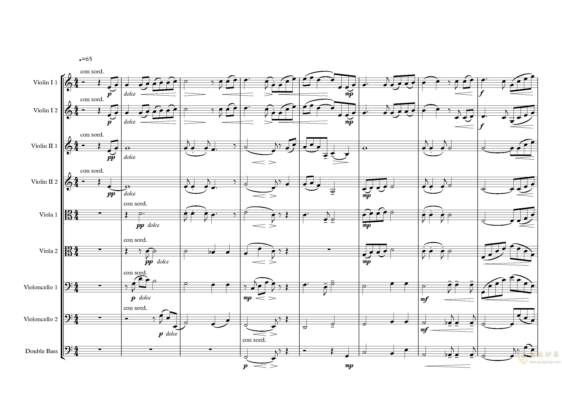 夕照-lbg钢琴谱 第1页