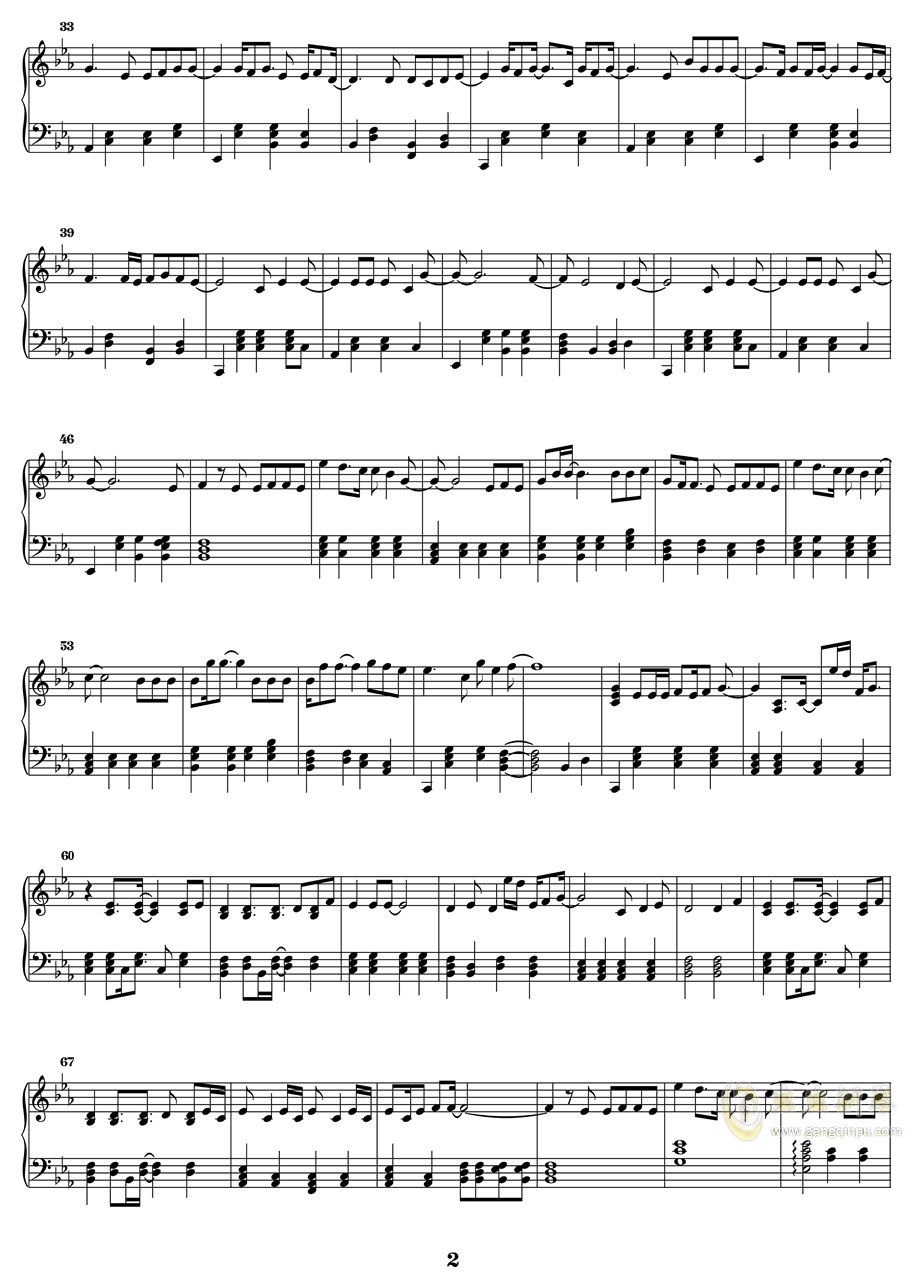 光影钢琴谱 第2页