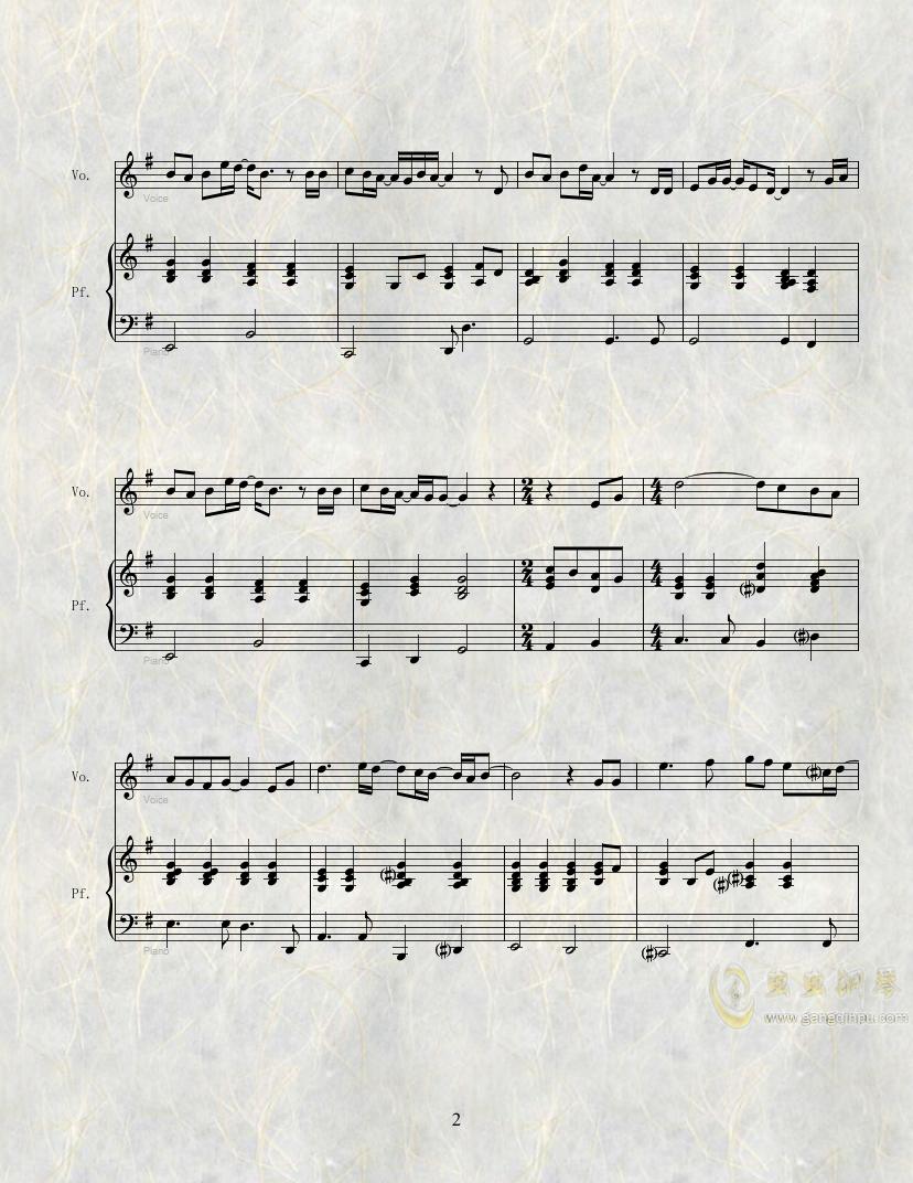雪之花钢琴谱 第2页