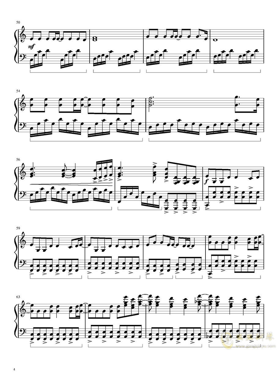 灰色钢琴谱 第4页