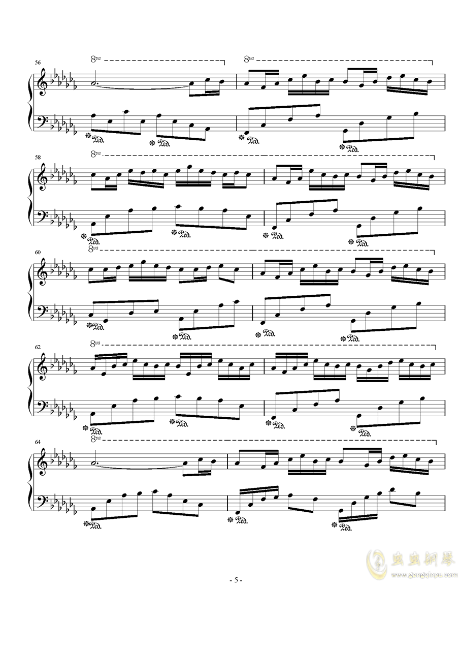 琴键上的女孩钢琴谱 第5页