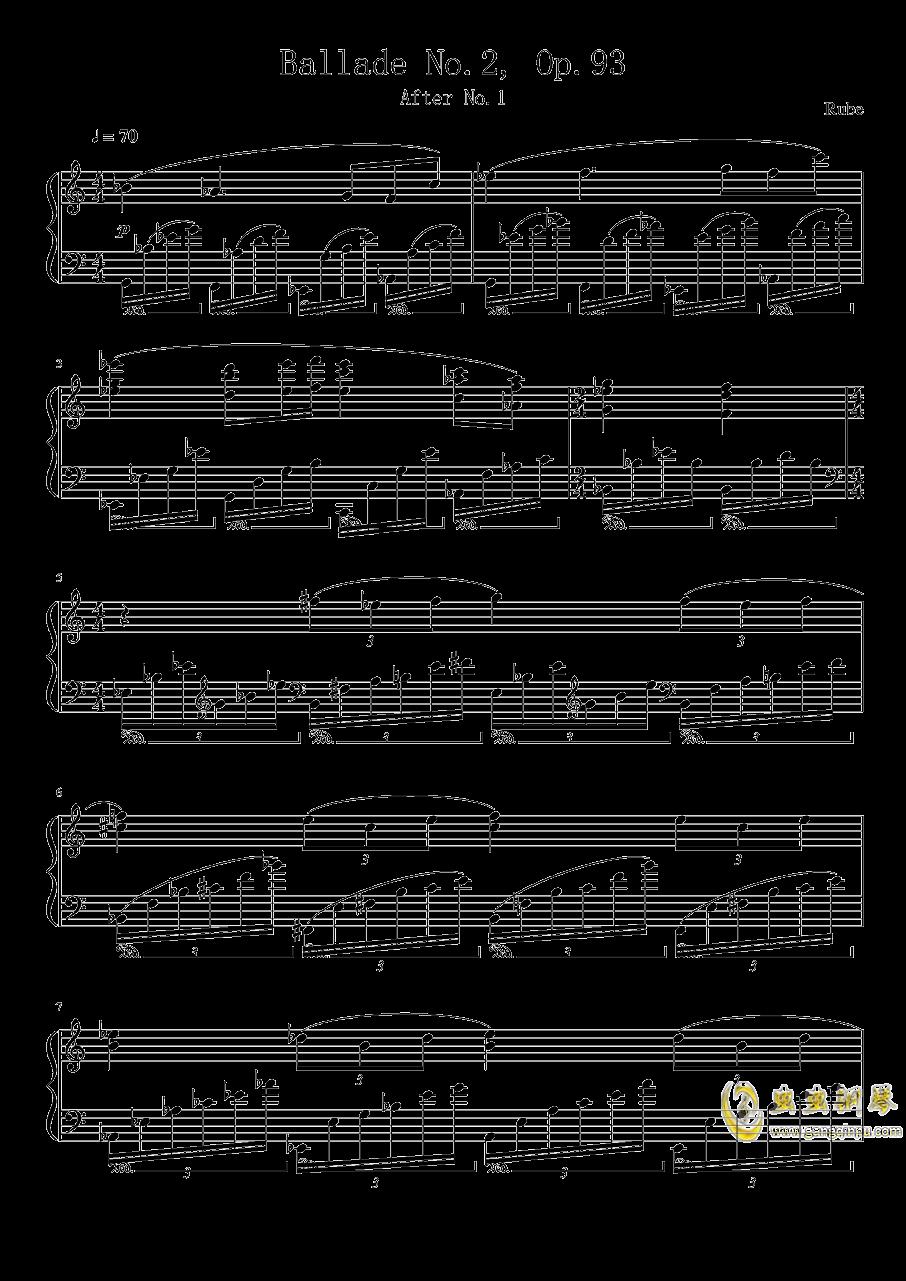 Ballade No.2, Op.93 谱子钢琴谱 第1页