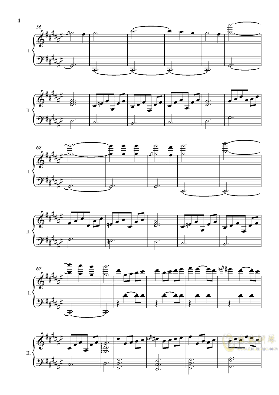 废狱摇篮曲(双钢)【NFT】钢琴谱 第4页