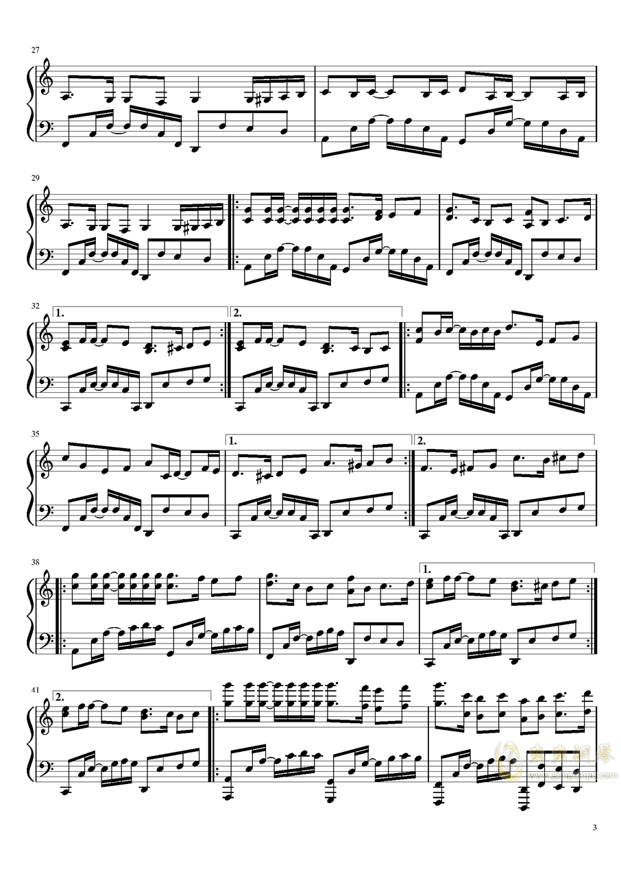 爱与你相伴钢琴谱 第3页