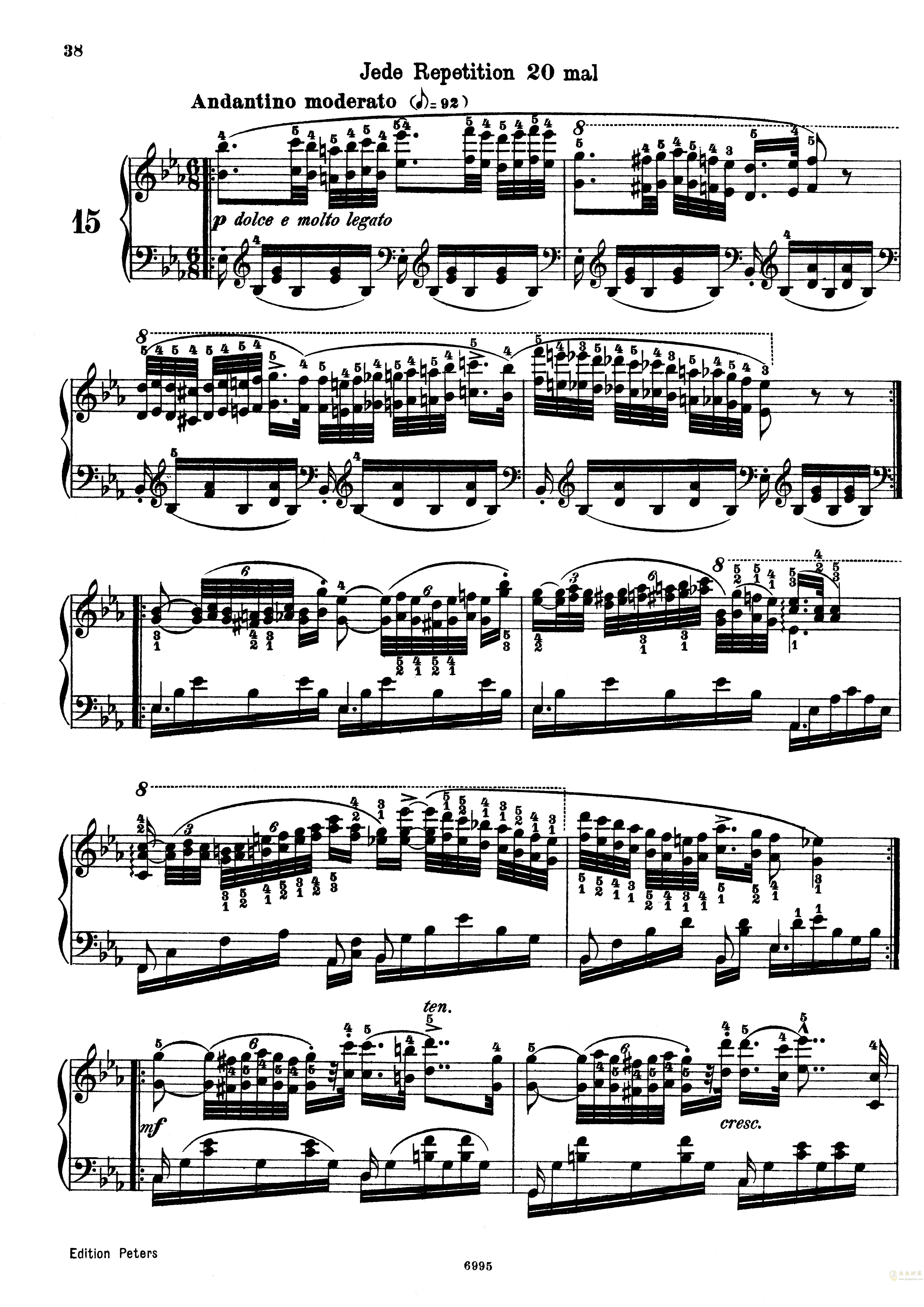 车尔尼练习曲Op.365 No.15钢琴谱 第1页