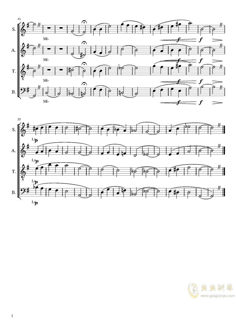 SATB Vocalise, Op.unb钢琴谱 第2页