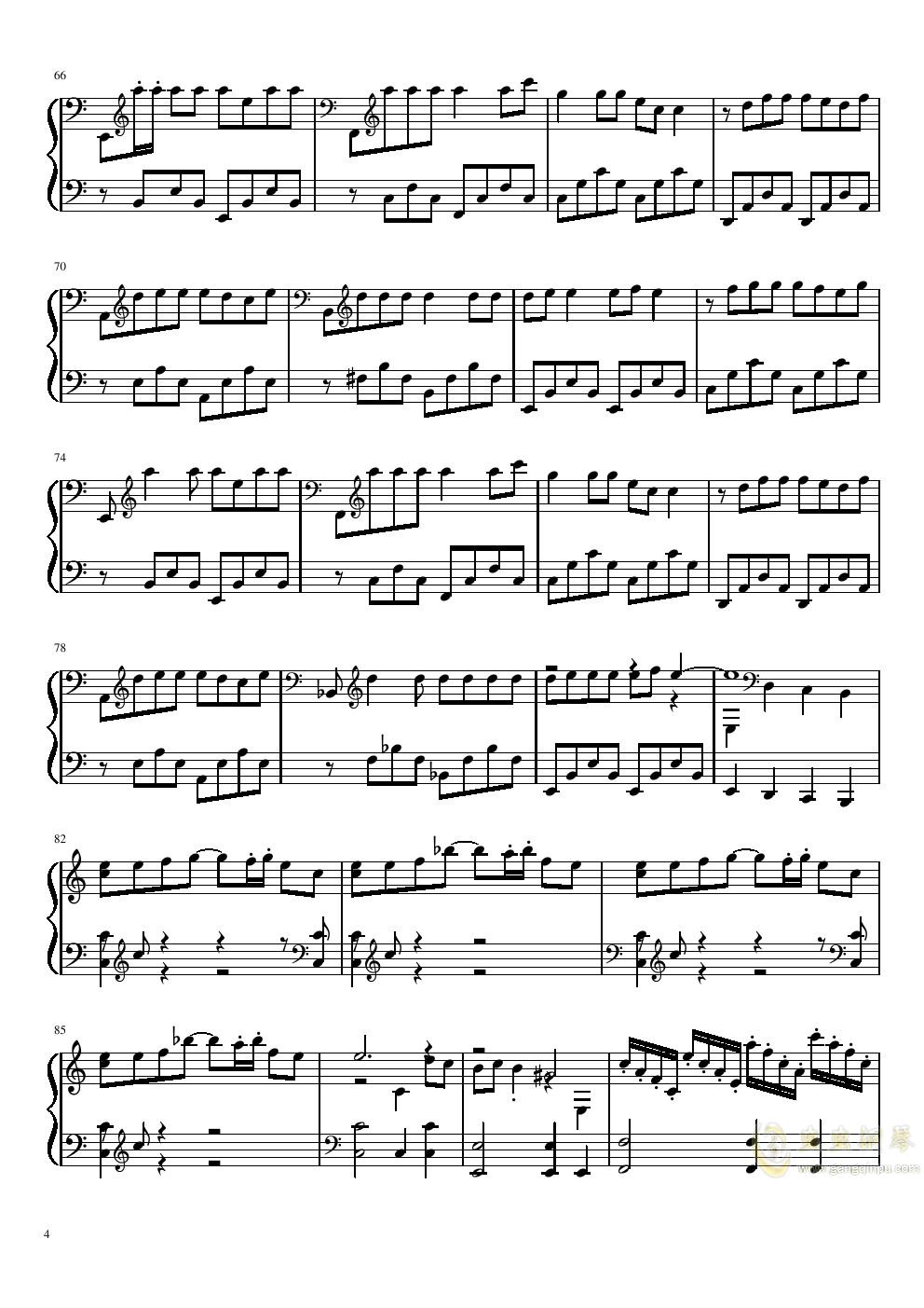 沙漠骆驼钢琴谱 第4页