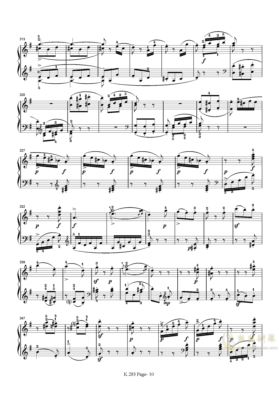 莫扎特G大调钢琴奏鸣曲K.283钢琴谱 第10页
