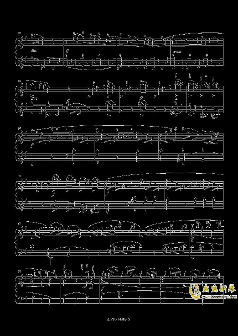 莫扎特G大调钢琴奏鸣曲K.283钢琴谱 第2页
