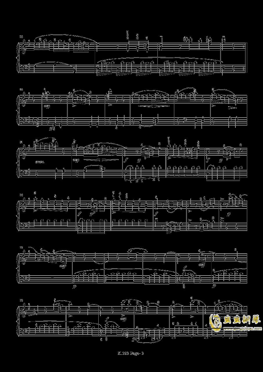 莫扎特G大调钢琴奏鸣曲K.283钢琴谱 第3页