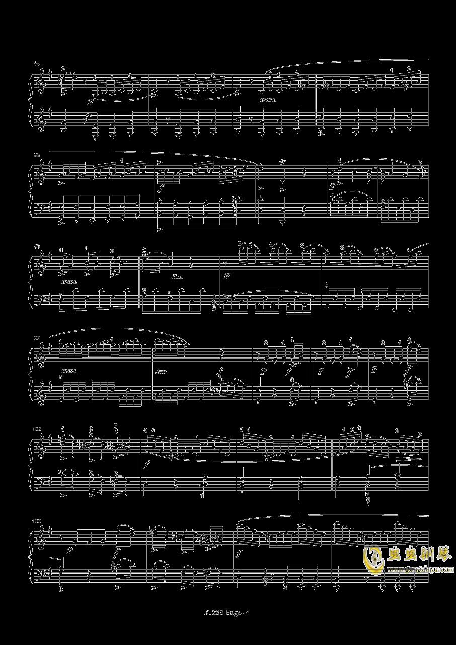 莫扎特G大调钢琴奏鸣曲K.283钢琴谱 第4页