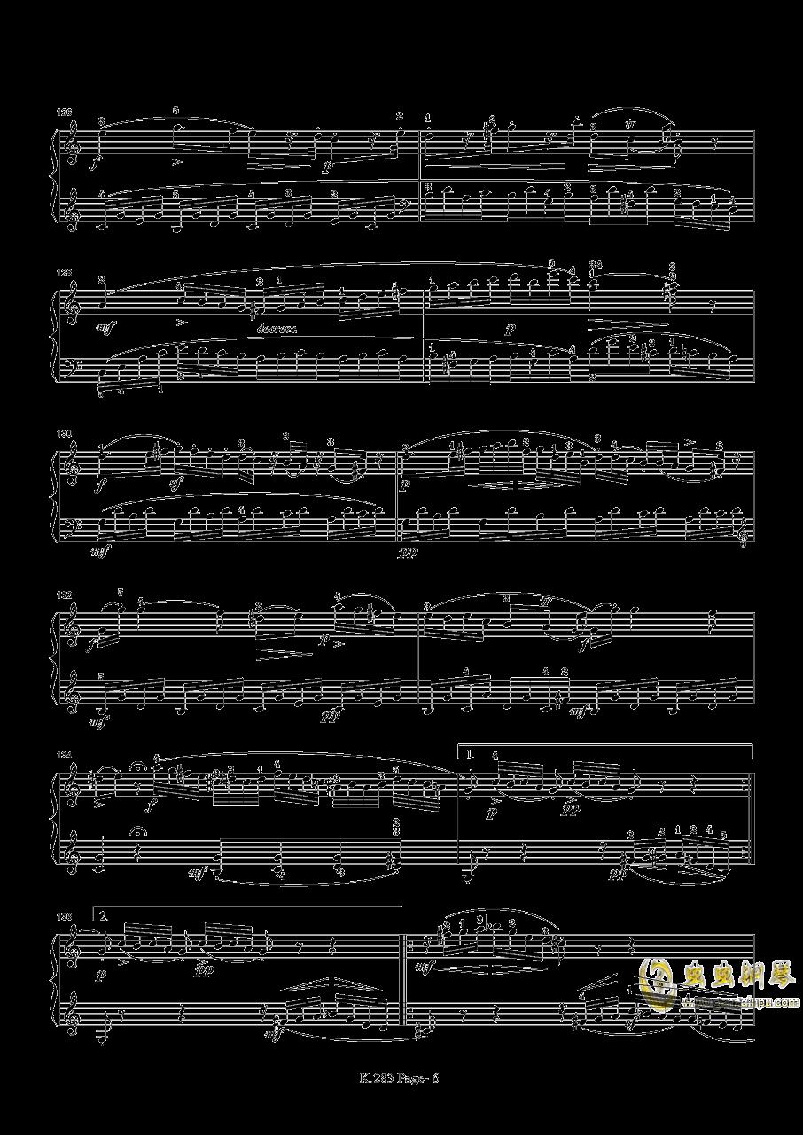 莫扎特G大调钢琴奏鸣曲K.283钢琴谱 第6页