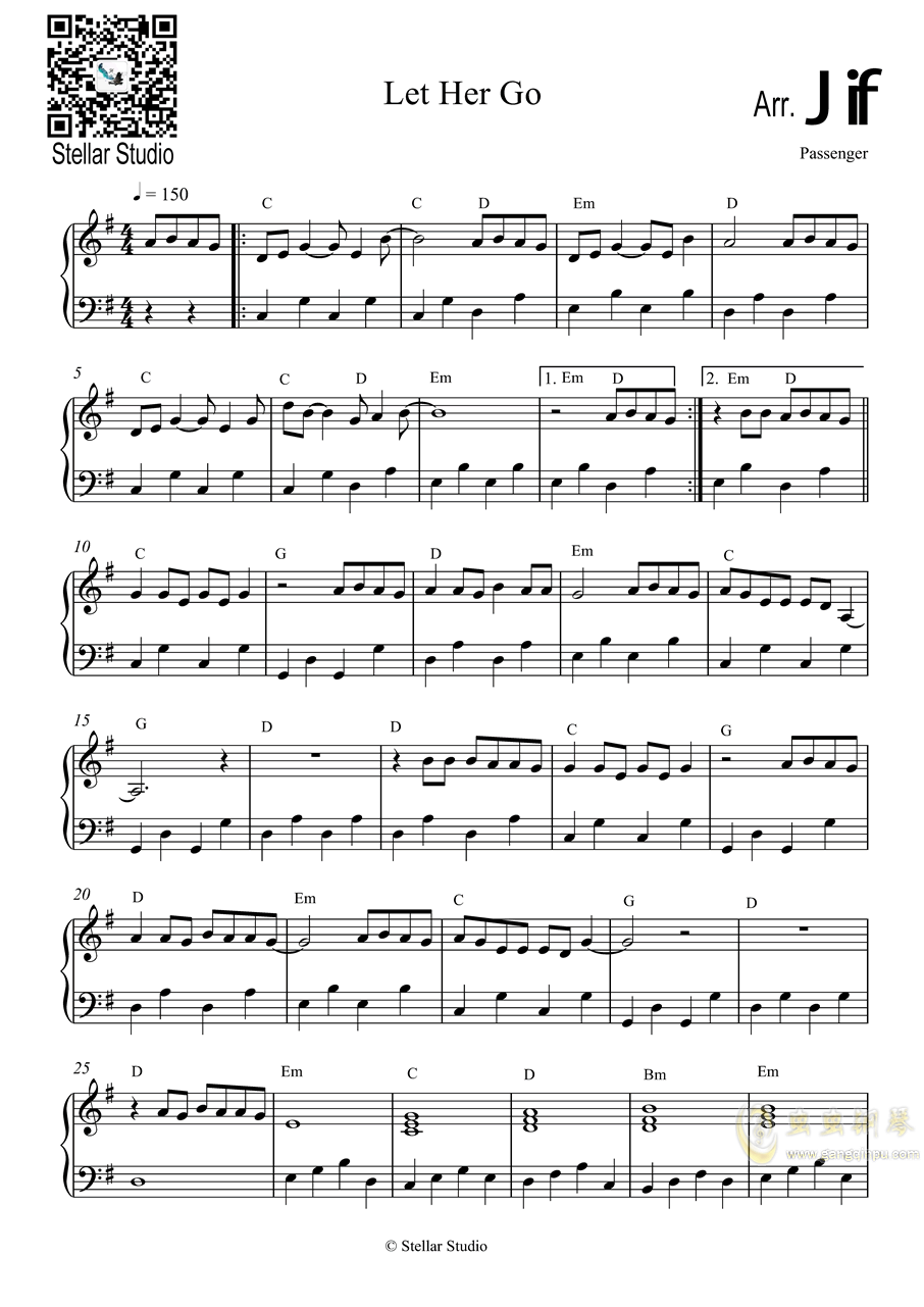 Let Her Go钢琴谱 第2页