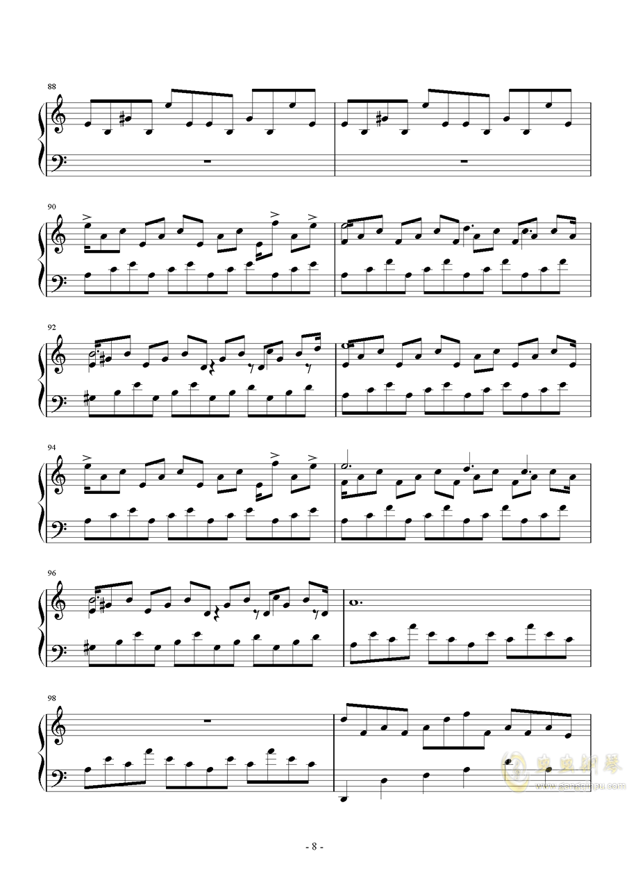 Nocturne in a Minor钢琴谱 第8页