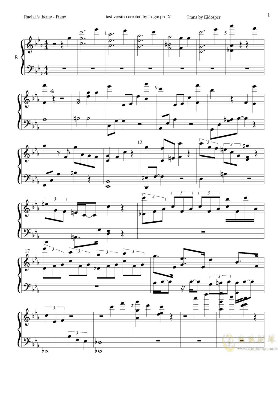 Rachel钢琴谱 第1页