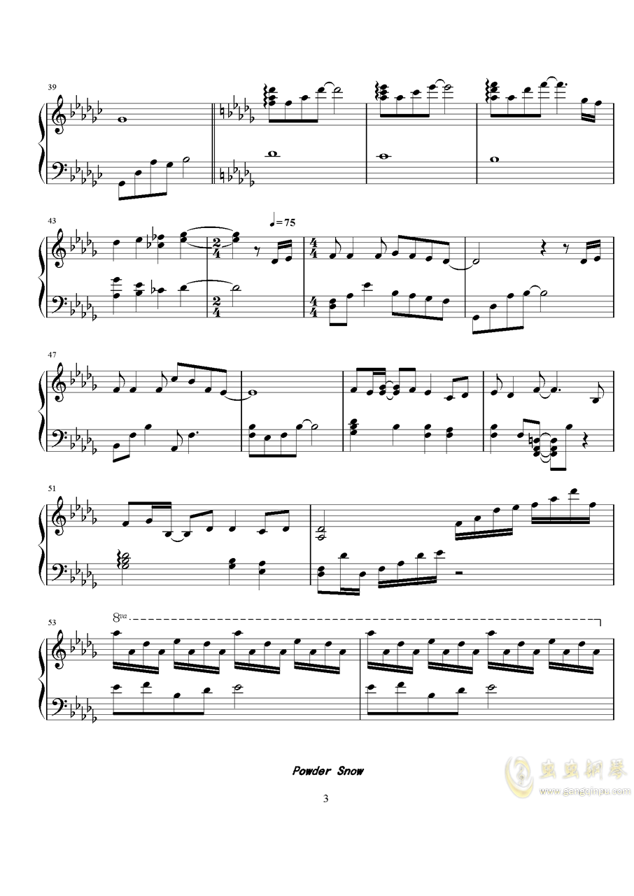 Powder Snow钢琴谱 第3页
