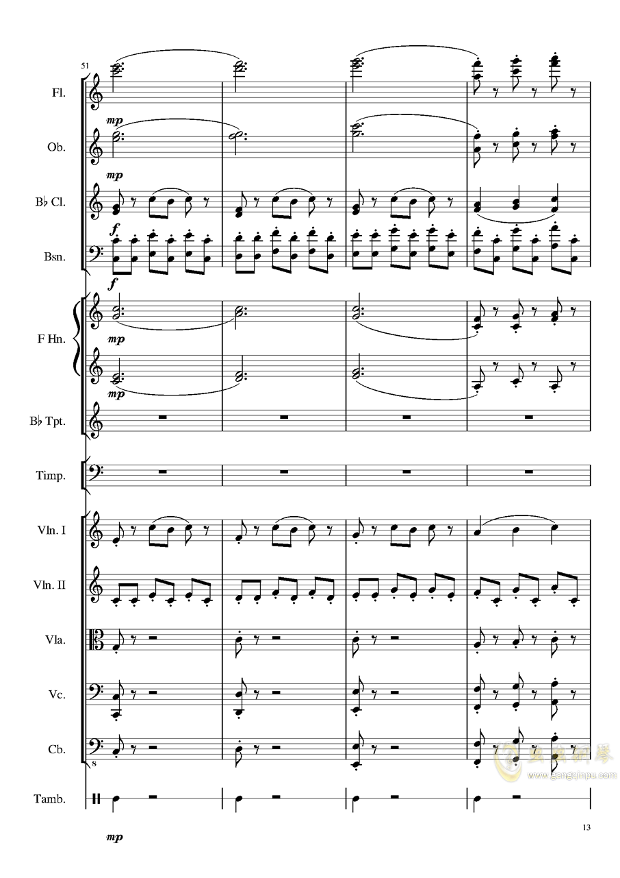 4 Contredanse for Chamber Orchestra, Op.120 No.1钢琴谱 第13页