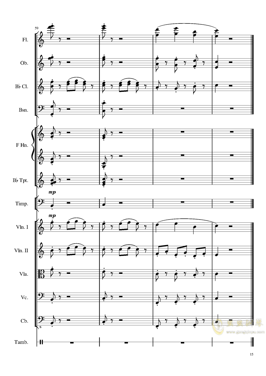 4 Contredanse for Chamber Orchestra, Op.120 No.1钢琴谱 第15页