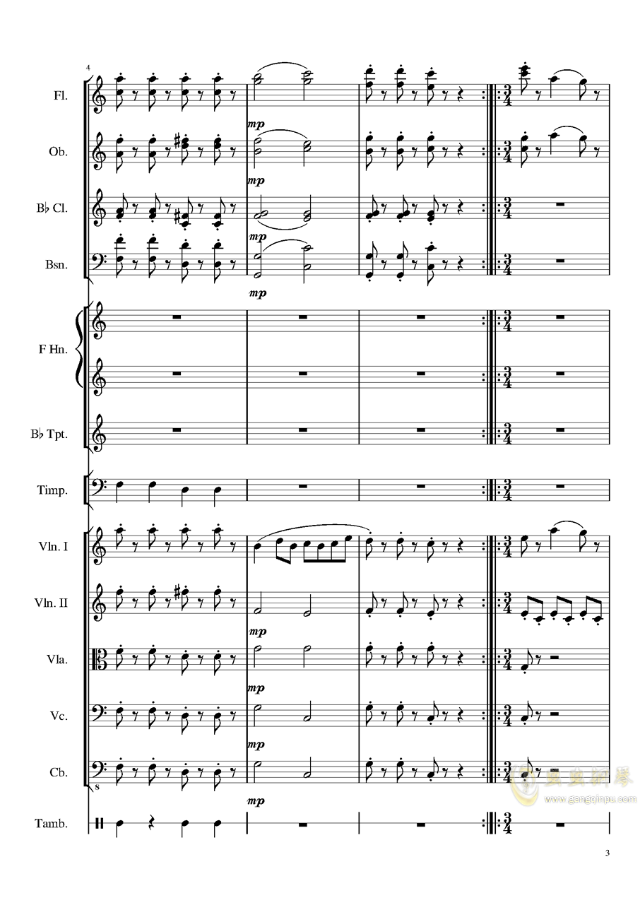 4 Contredanse for Chamber Orchestra, Op.120 No.1钢琴谱 第3页