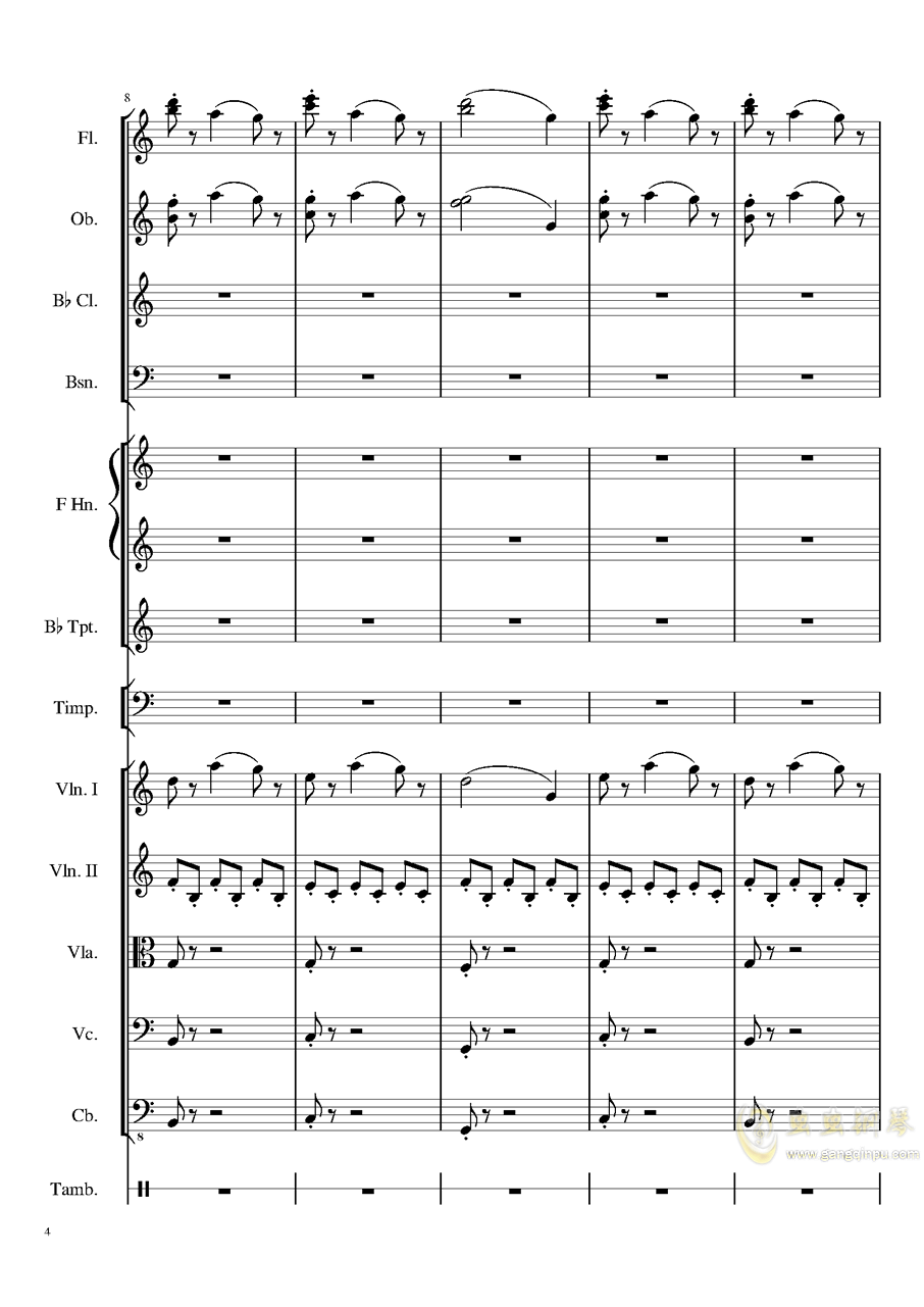 4 Contredanse for Chamber Orchestra, Op.120 No.1钢琴谱 第4页
