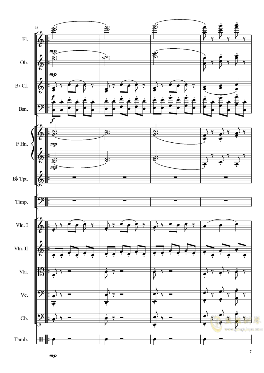 4 Contredanse for Chamber Orchestra, Op.120 No.1钢琴谱 第7页