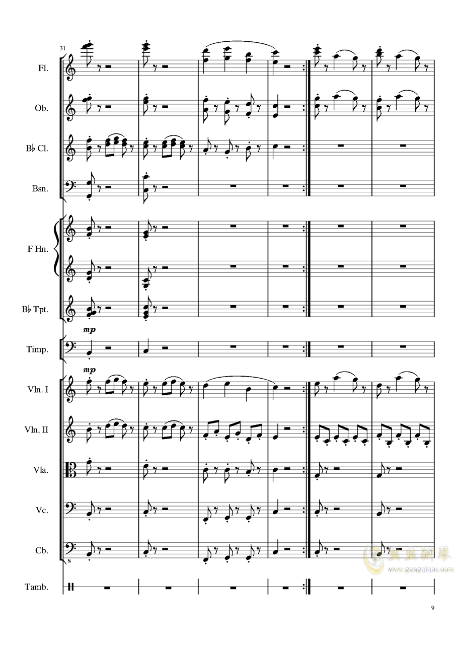 4 Contredanse for Chamber Orchestra, Op.120 No.1钢琴谱 第9页