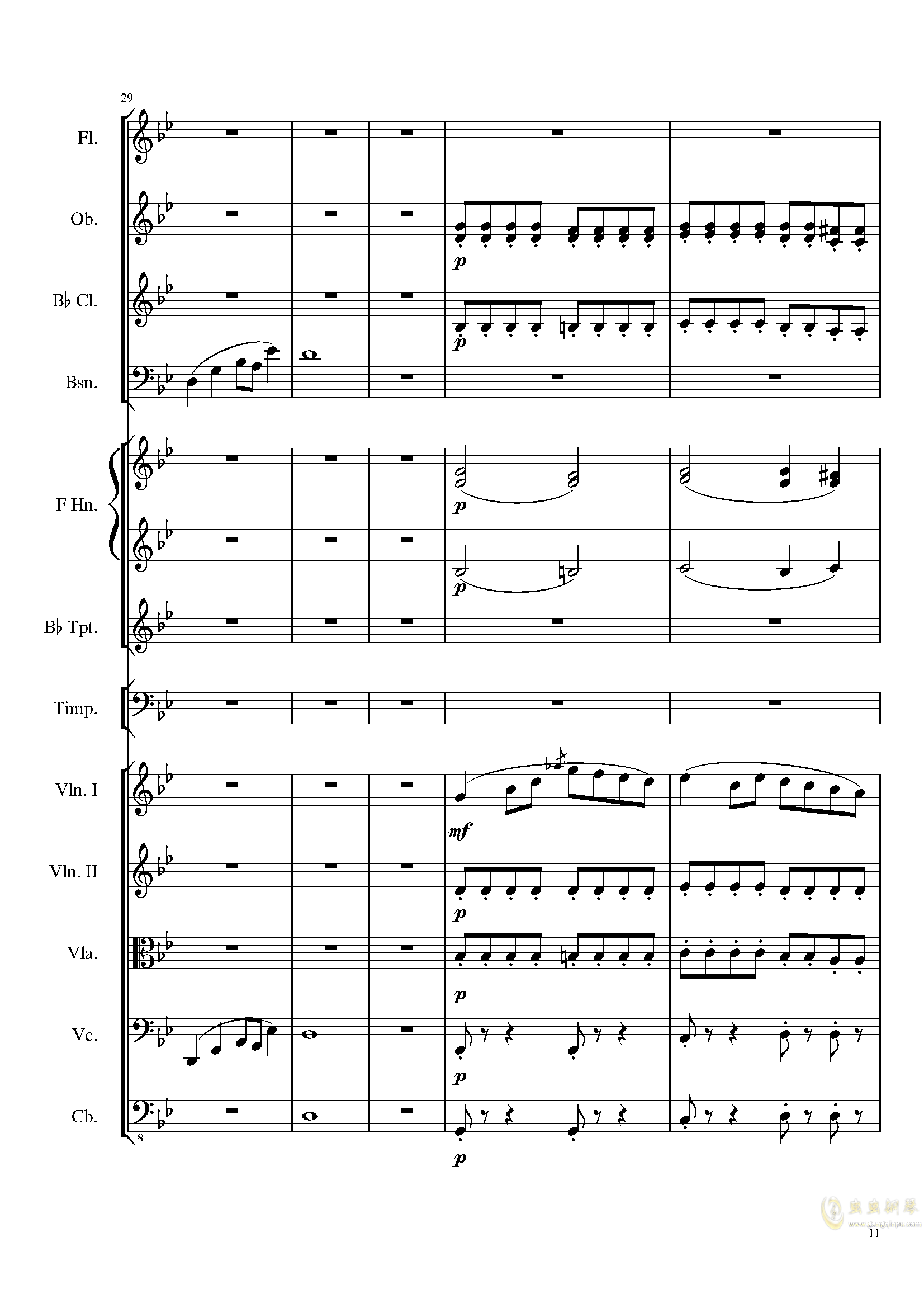 4 Contredanses for Chamber Orchestra, Op.120 No.2钢琴谱 第11页
