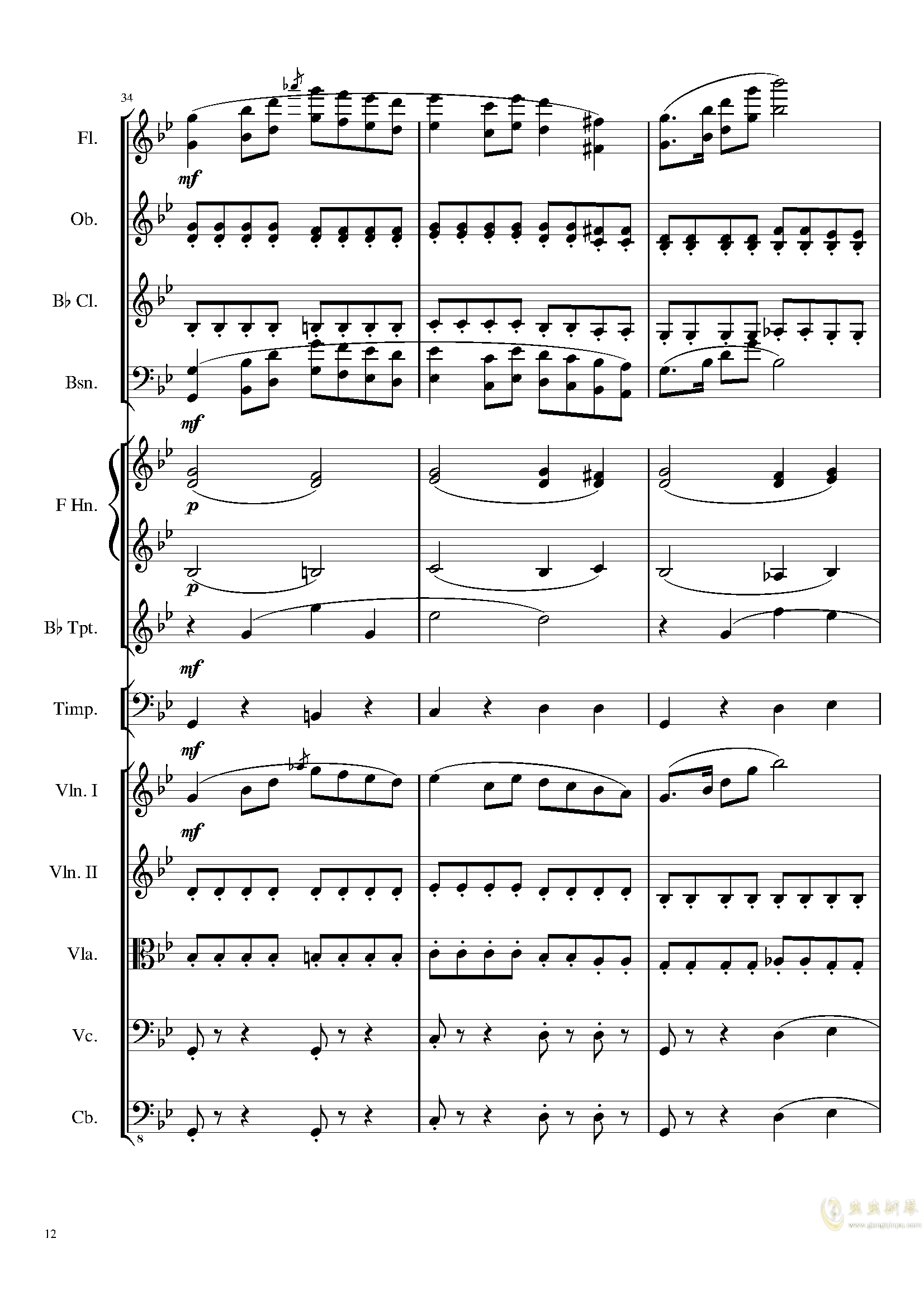 4 Contredanses for Chamber Orchestra, Op.120 No.2钢琴谱 第12页
