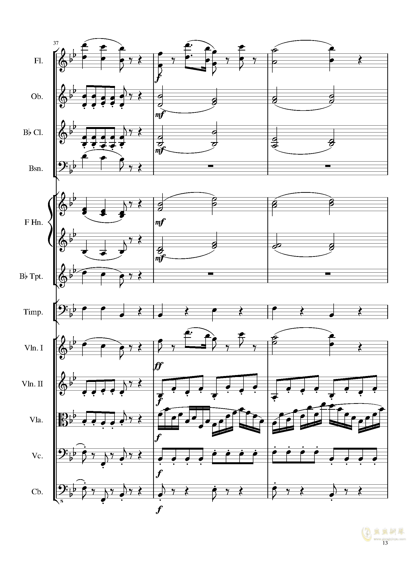 4 Contredanses for Chamber Orchestra, Op.120 No.2钢琴谱 第13页