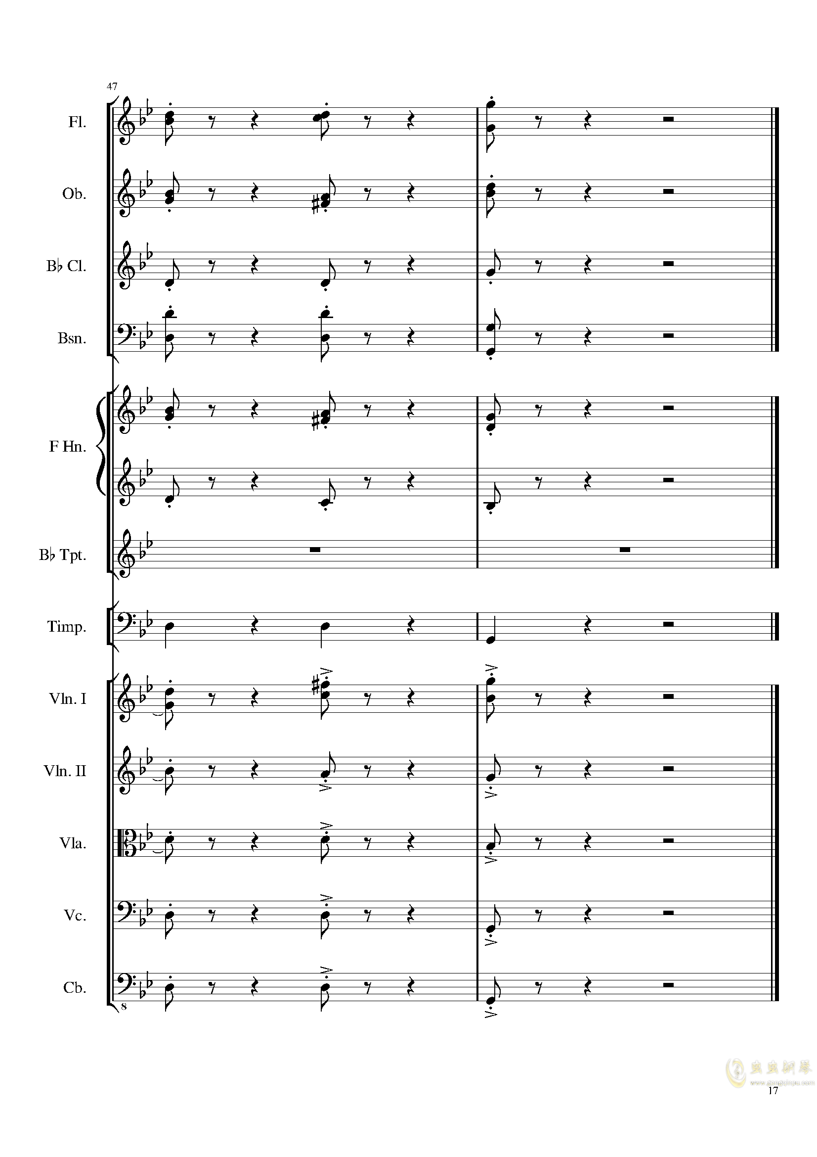 4 Contredanses for Chamber Orchestra, Op.120 No.2钢琴谱 第17页