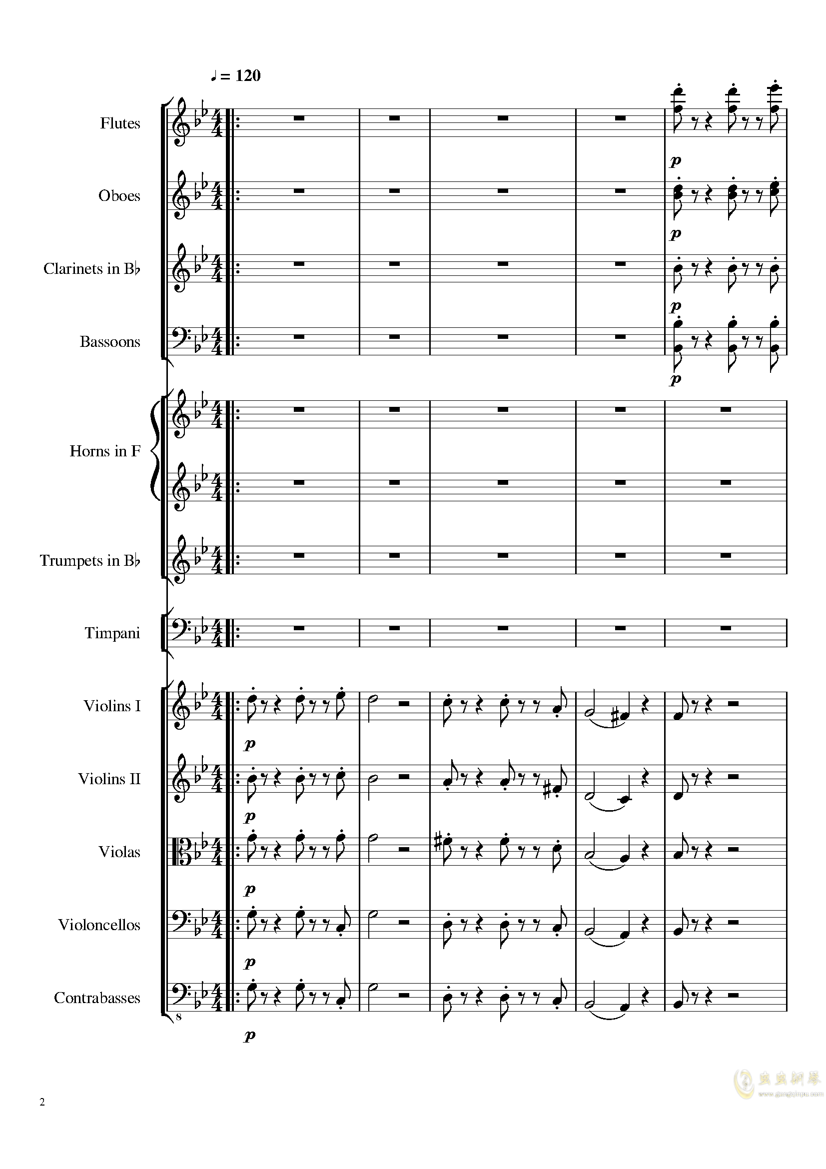 4 Contredanses for Chamber Orchestra, Op.120 No.2钢琴谱 第2页
