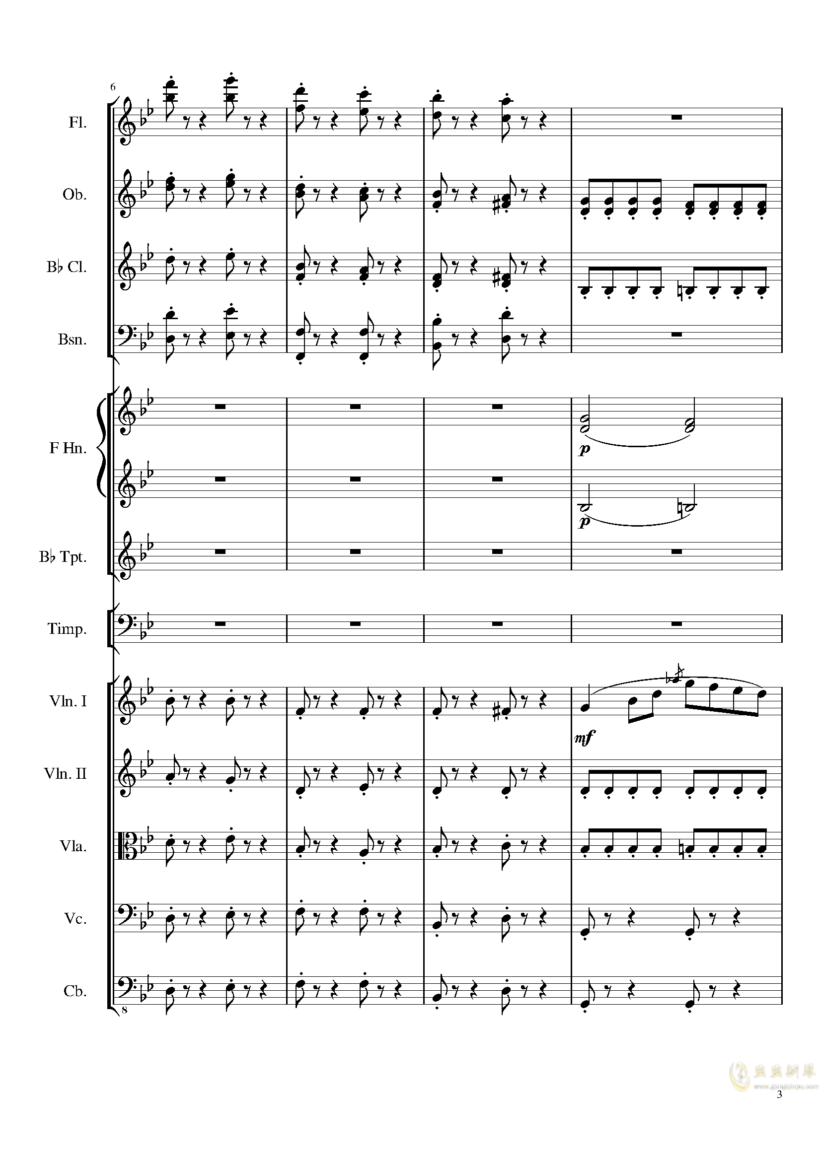 4 Contredanses for Chamber Orchestra, Op.120 No.2钢琴谱 第3页