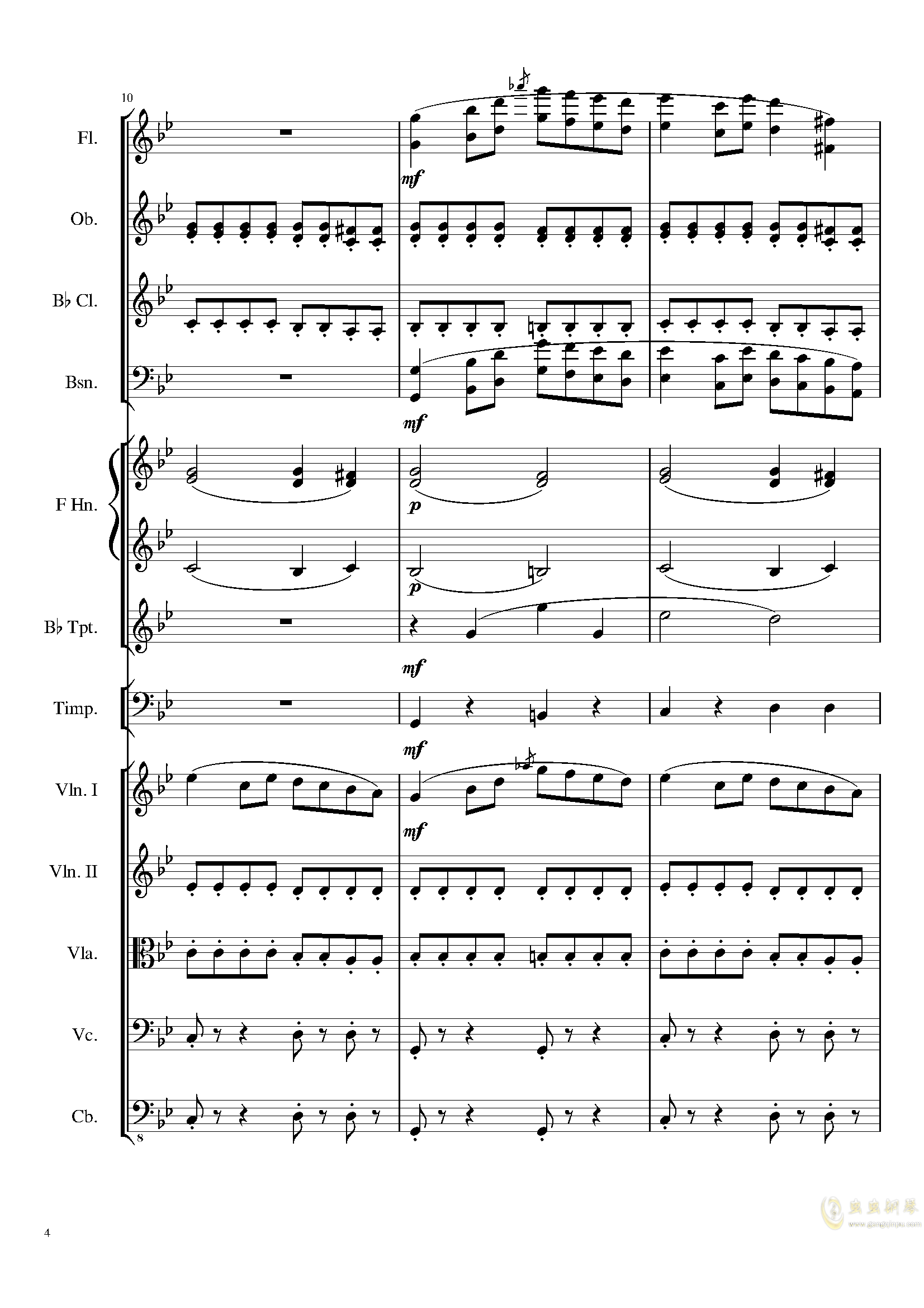 4 Contredanses for Chamber Orchestra, Op.120 No.2钢琴谱 第4页