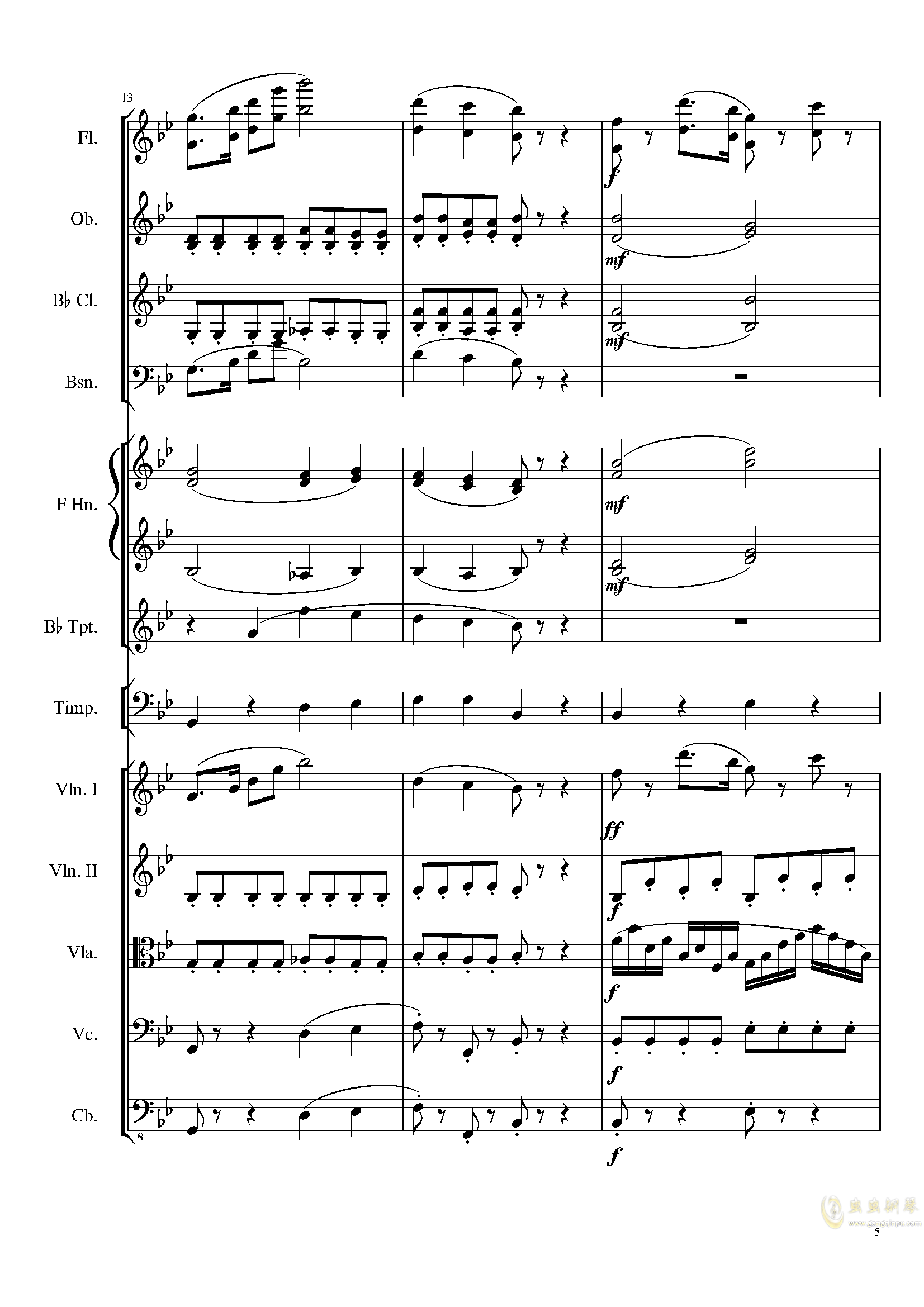 4 Contredanses for Chamber Orchestra, Op.120 No.2钢琴谱 第5页