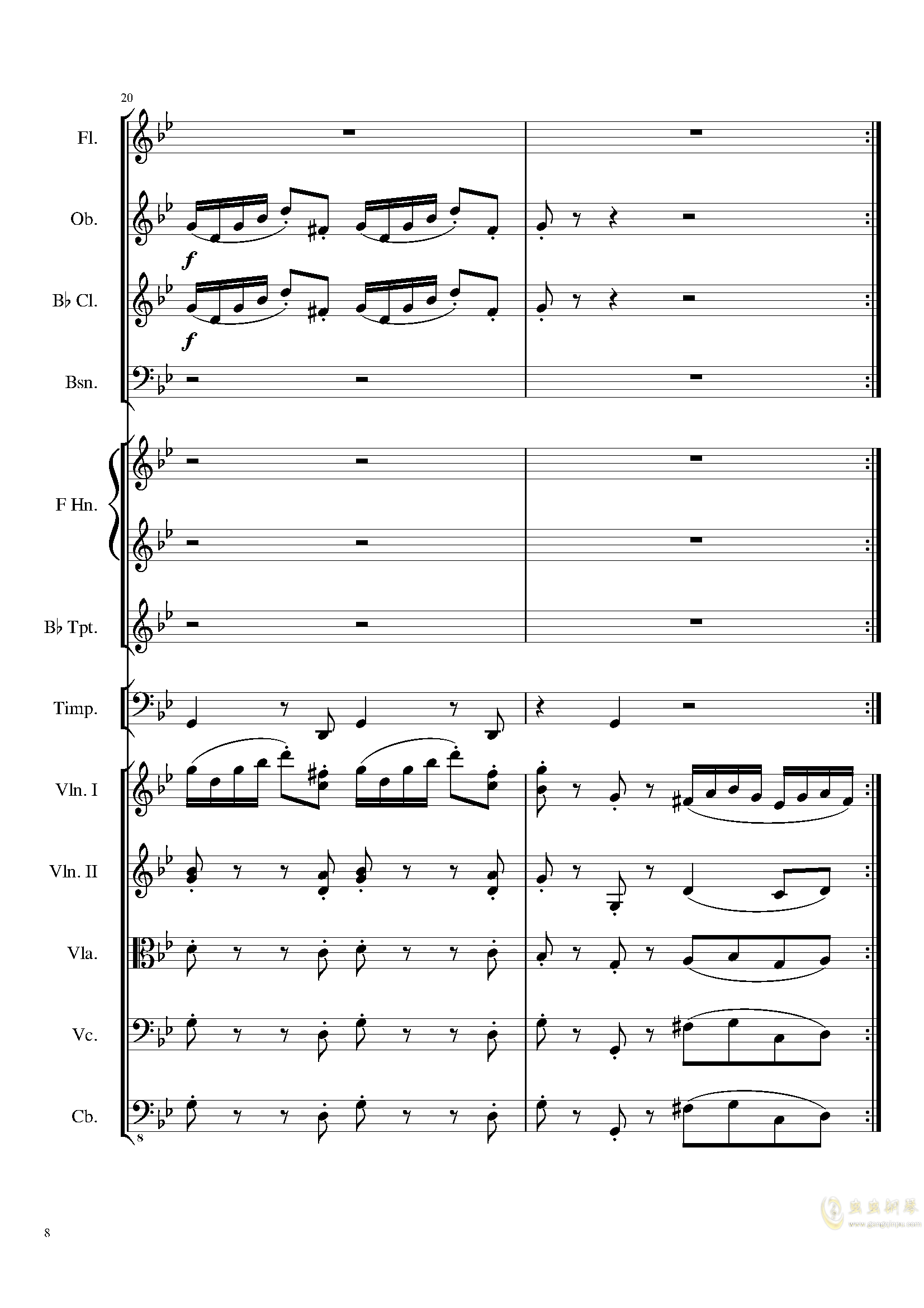 4 Contredanses for Chamber Orchestra, Op.120 No.2钢琴谱 第8页