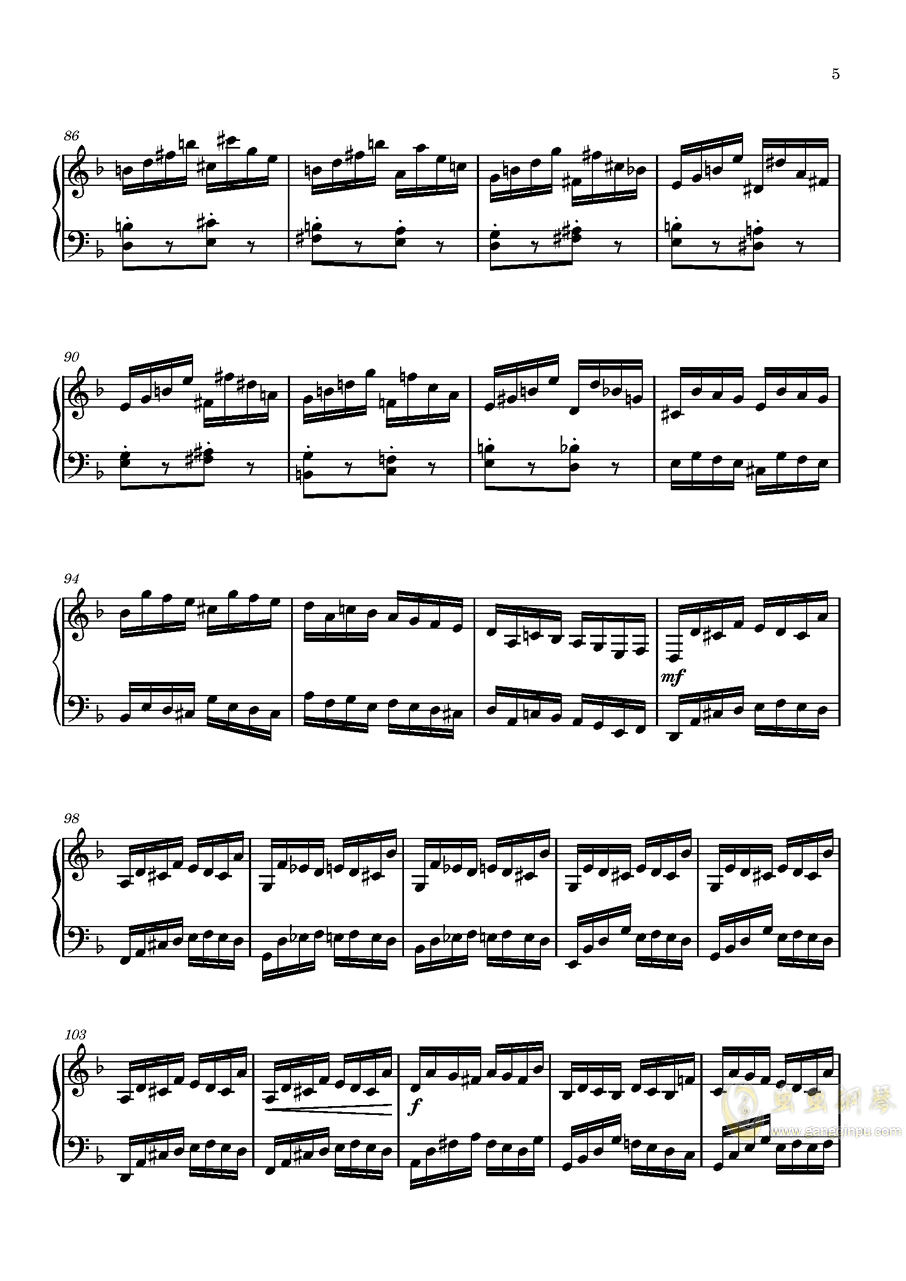 Etude in D Minor钢琴谱 第5页