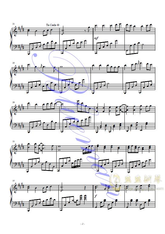 追梦人钢琴谱 第2页