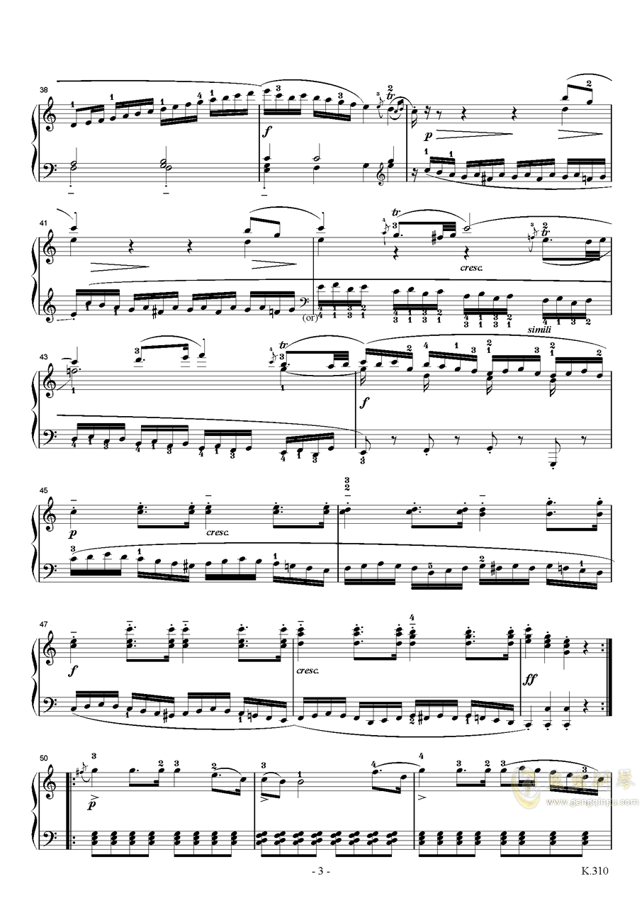 莫扎特a小调第八钢琴奏鸣曲K310钢琴谱 第3页