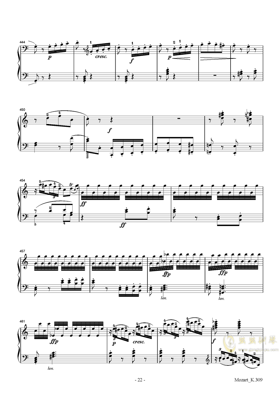 莫扎特C大调第七钢琴奏鸣曲K309钢琴谱 第22页