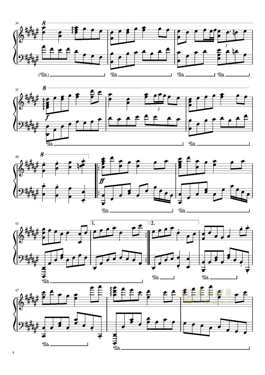 Bad Apple!!!钢琴谱 第4页
