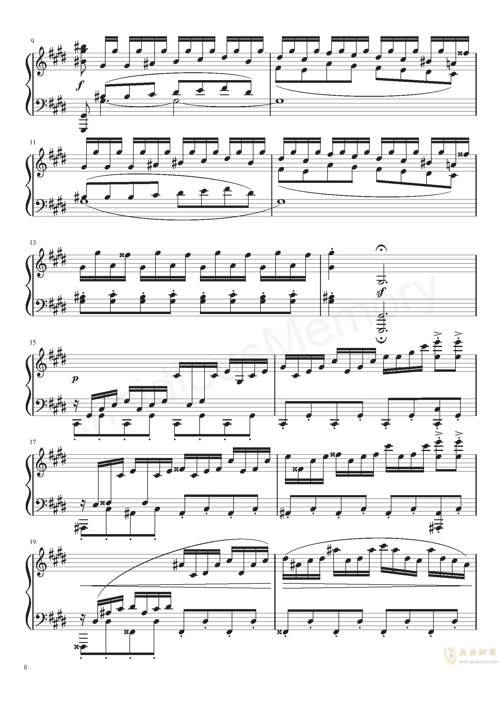 月光奏鸣曲钢琴谱 第8页