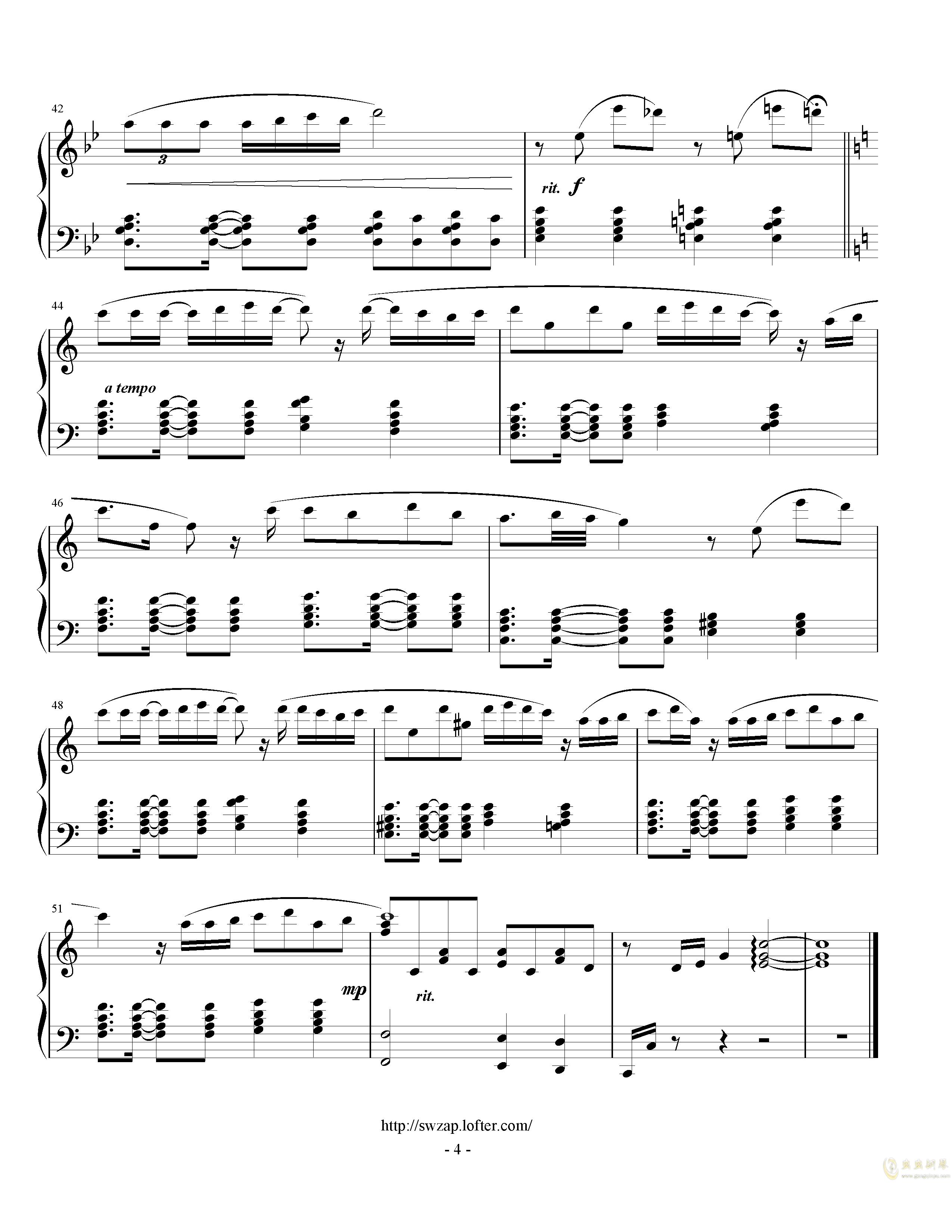 初日钢琴谱 第4页